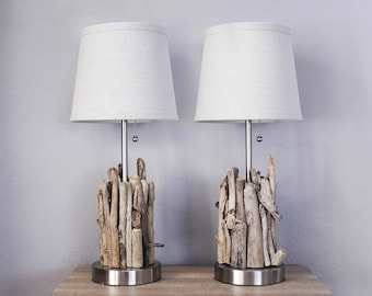 Nautical Accent Lamps, 2 pcs Pair DriftWood Beach Decor