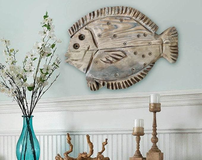 "Driftwood Flounder 21x18"" Fish 2d Beach Décor sculpture by SEASTYLE"