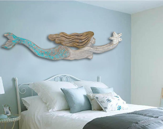 "Mermaid Driftwood 60x14x2"" XL Wood 2d sculpture Beach Décor by SEASTYLE"