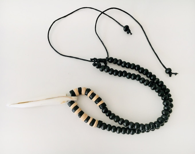 Nautical Bone Pendant Necklace White Black Leather Black Beads by SeaStyle