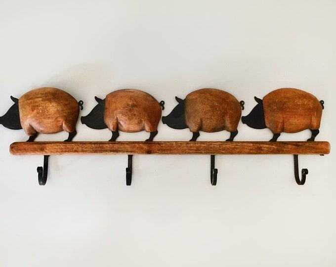Beach DecorVintage Wood Metal Four Pigs Wall  Hook by SEASTYLE