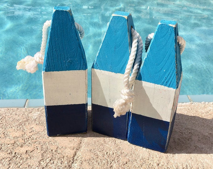 """Lobster Float Buoy, 11"""" Blue White Dark Blue , Vintage Style, Nautical, Beach Decor,  by SEASTYLE"""