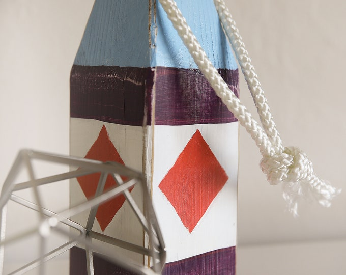 Beach Decor, Old-style float buoy, Blue, White, Plum, Orange, Vintage, Nautical, by SEASTYLE