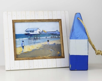 """Beach Decor Set """"Pier"""" Oil Painting and Buoy by B. Kravchenko for SEASTYLE"""