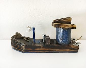 "Beach Décor Wood Ship ""Blue Monster"" by SEASTYLE"