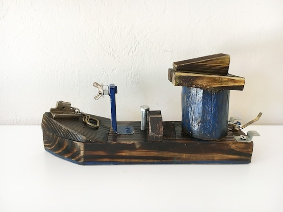 "Beach Décor Wood Ship ""Blue Monster"" by SEASTYLE"