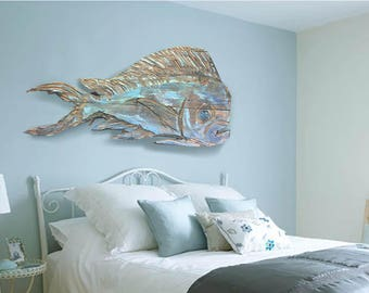 """Driftwood Beach Décor 38"""" Dolphinfish 2d sculpture by SEASTYLE"""