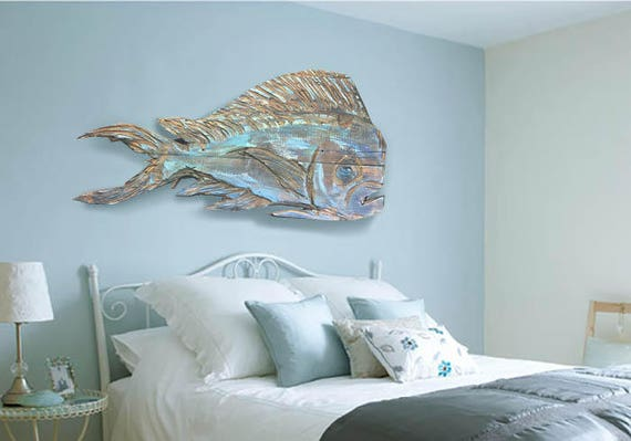 "Driftwood Beach Décor 38"" Dolphinfish 2d sculpture by SEASTYLE"