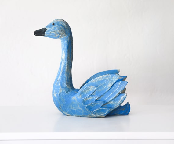 Wood Swan Blue 3D Sculpture Beach Décor by SEASTYLE