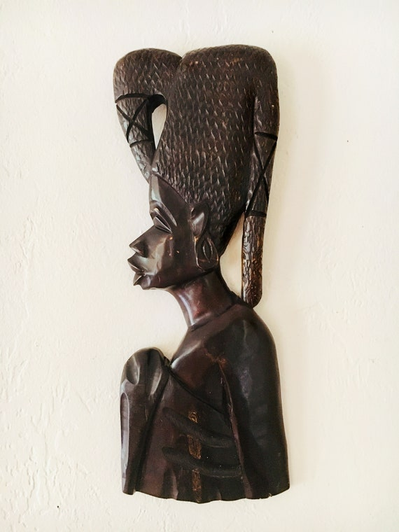 "Vintage Wooden Carved African Mask 20x9"" Beach Decor by SEASTYLE"