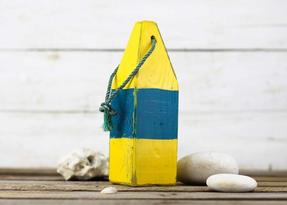 "Beach Decor, 11"" Old-style lobster float buoy, Yellow, Blue,  Vintage Style, Nautical, by SEASTYLE"