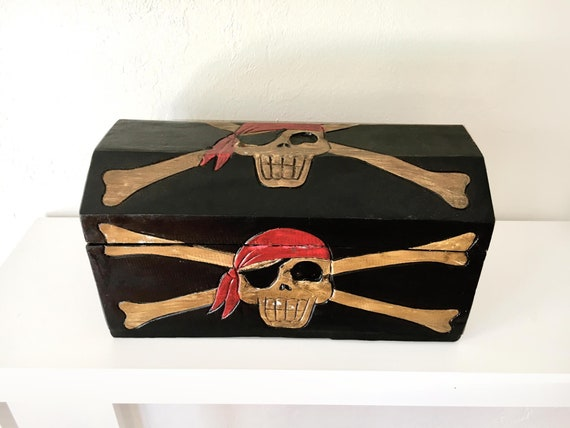 "Pirates Treasure Box 17x9x9"" Beach Decor Wooden by SEASTYLE"