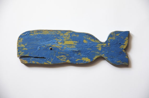 "Costal Decor Whale Fish 11x4"" Blue Green Reclaimed Wood 2d Wall Sculpture by SEASTYLE"