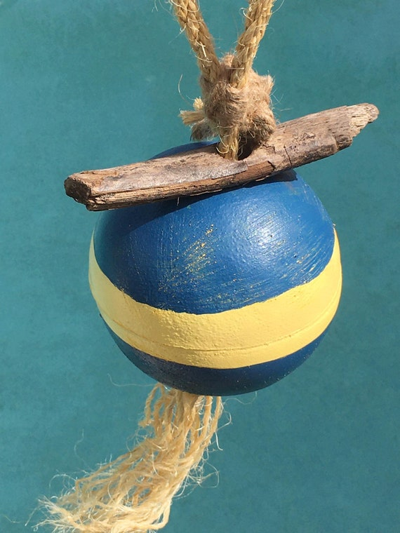 Float Buoy Blue Yellow Rope Vintage Nautical by SEASTYLE