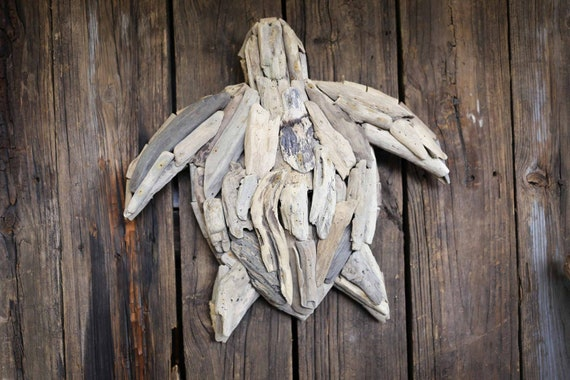 "Driftwood Handmade Big Turtle 25x25x5"" inch , Rustic Beach Decor by SEASTYLE"