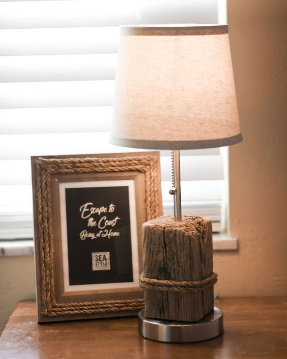Nautical Accent 2 Lamps, Pair DriftWood, Manila Rope, Beach Decor by SEASTYLE