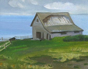 "Sale Beach Decor ""Barn on the harbor "" Oil Painting by B. Kravchenko FREE SHIPP"