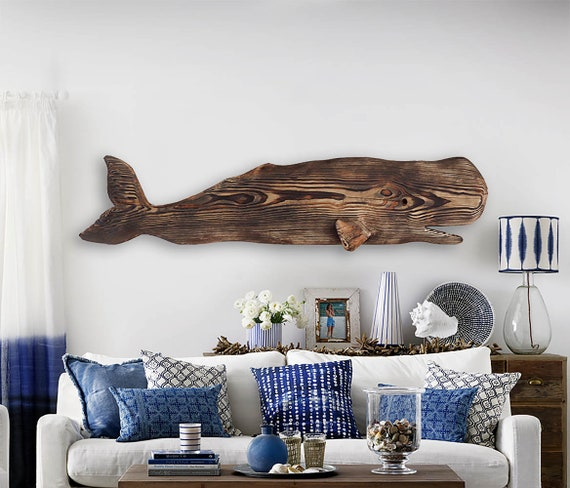 "Driftwood Whale 53 "" Wood 2d sculpture Beach Décor by SEASTYLE"