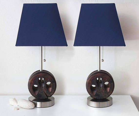 Nautical Accent Lamp Pair 2 pcs Dark Blue Wood Beach Decor by SEASTYLE