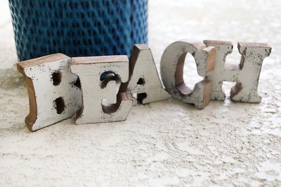 BEACH letters, Walnut Wood, Beach Decor, Nautical  by SEASTYLE