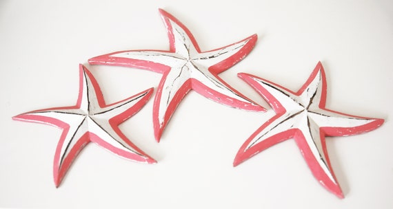 Beach Decor Pink White 3 Wood Stars Vintage Style by SEASTYLE