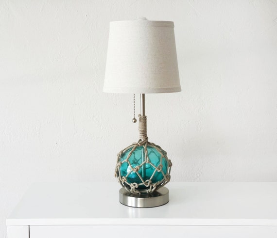 Nautical Accent Lamp Blue Vintage Japanese Glass Fishing Float Beach Decor by SEASTYLE