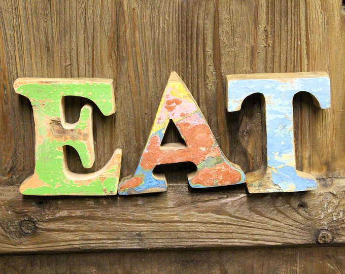 Beach Decor EAT Sign Vintage Style Nautical Wooden by Seastyle