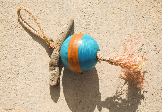 Float Buoy Blue Orange Rope Vintage Nautical by SEASTYLE