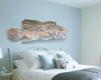 "Driftwood Beach Décor 29"" Fish 2d sculpture by SEASTYLE"