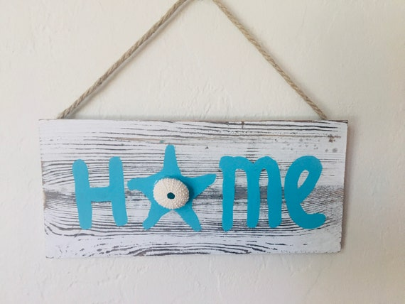 "Driftwood HOME Sign 12"" Nautical Beach decor by SEASTYLE"