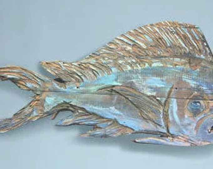 """For Brenda Morton Driftwood Beach Décor 45"""" Dolphinfish 2d sculpture by SEASTYLE"""