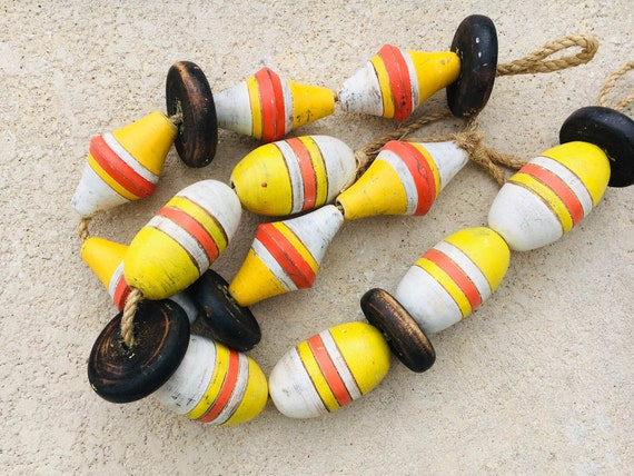 Vintage Lobster Buoy Yellow Orange White Beach Decor Nautical Wooden by SEASTYLE