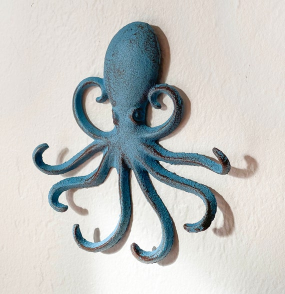 Blue Octopus Distressed Cast Iron Beach Decor by SEASTYLE