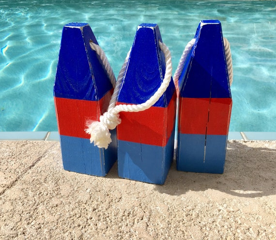 "Lobster Float Buoy, 11"" Dark Blue Red Blue, Vintage Style, Nautical, Beach Decor,  by SEASTYLE"
