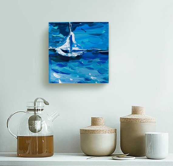 Original  Painting Sailboat Decor House by SEASTYLE