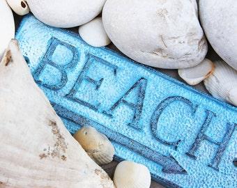 Beach Decor cast iron sign Beach Ocean blue Nautical Distressed by SEASTYLE
