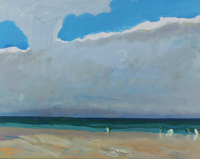 """SALE Beach Decor  Oil Painting """"On the beach"""" by B. Kravchenko for SEASTYLE"""