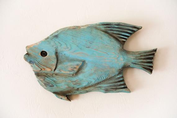 "Driftwood Blue Angel Fish 25x14"" 2D Beach Décor Sculpture by SEASTYLE"