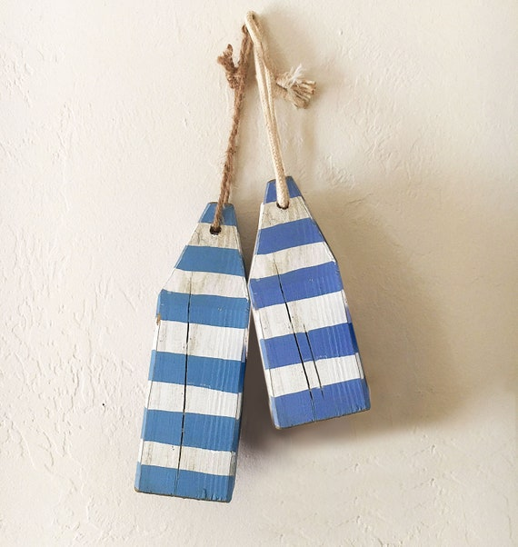 Lobster Buoys Set Strip Blue White Coastal Decor Nautical by SEASTYLE
