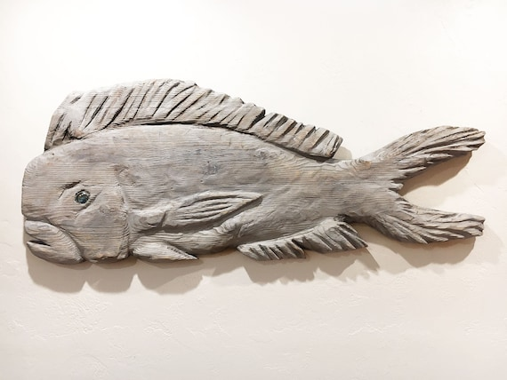 """Driftwood Beach Décor 46"""" Dolphinfish 2D Sculpture by SEASTYLE"""