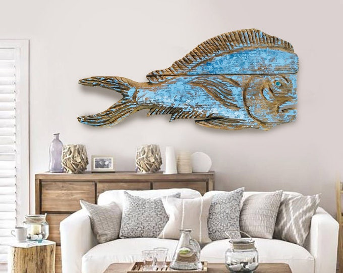 """Driftwood 38"""" Dolphinfish 2d sculpture Beach Décor by SEASTYLE"""