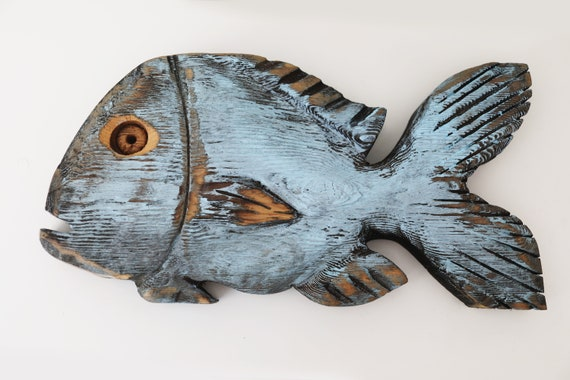 "Driftwood Blue Drum Fish 17x8x2"" 2d Beach Décor Sculpture by SEASTYLE"