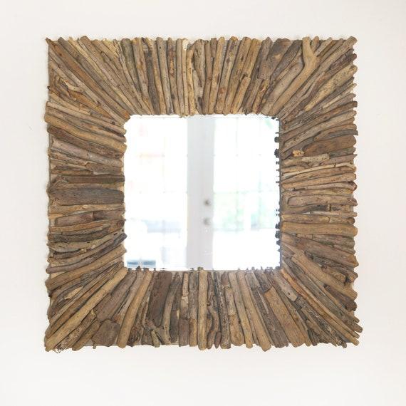 "Driftwood Mirror 29x29"" Handmade Rustic Beach Decor by SEASTYLE"