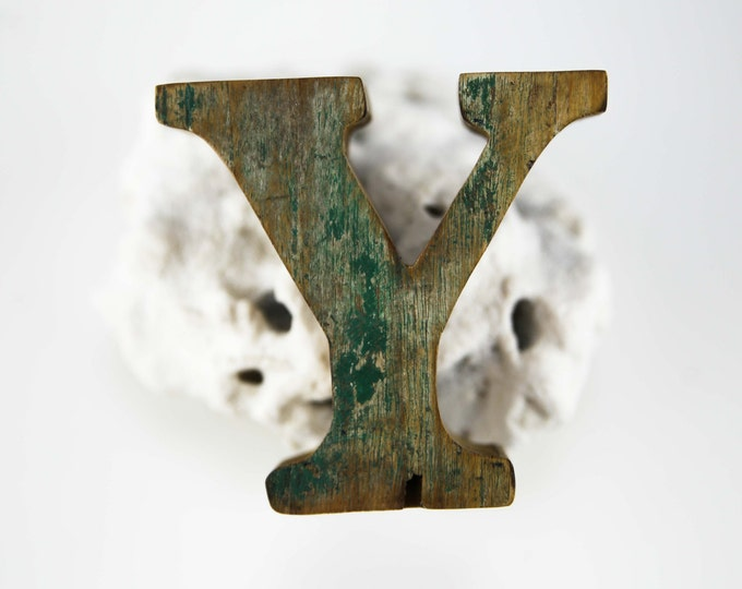 """Beach Decor Wooden LETTER """"Y"""" Vintage Style Nautical by SEASTYLE"""