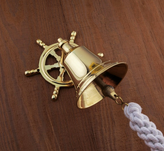 Brass Steering Wheel Ship Bell Rope Nautical Maritime Wall Decor Beach Decor, SEASTYLE