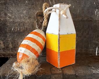 Coastal Decor Set Orange Yellow White Lobster Buoy Nautical Wooden by SEASTYLE