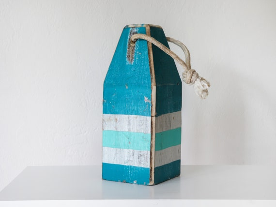 "Big Old Lobster Buoy 12x4,5x4,5"" (Aqua Turquoise White) Wood  Beach Decor Nautical by SEASTYLE"