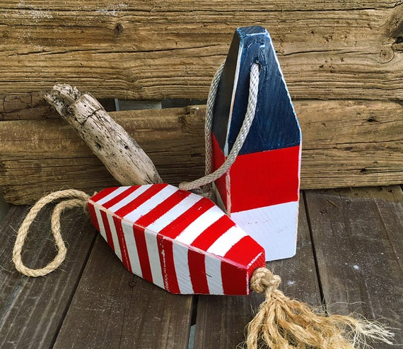 Coastal Decor Set Blue Red Lobster Buoy Nautical Wooden by SEASTYLE
