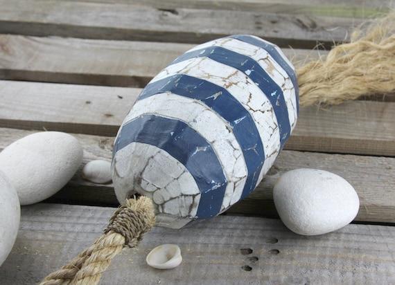 Beach Decor Vintage Nautical Wooden Blue White Lobster Buoy SeaStyle