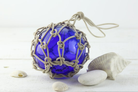 """Beach Decor Fishing Float in Rope Netting Cobalt Blue  6"""", Vintage Style by SEASTYLE"""